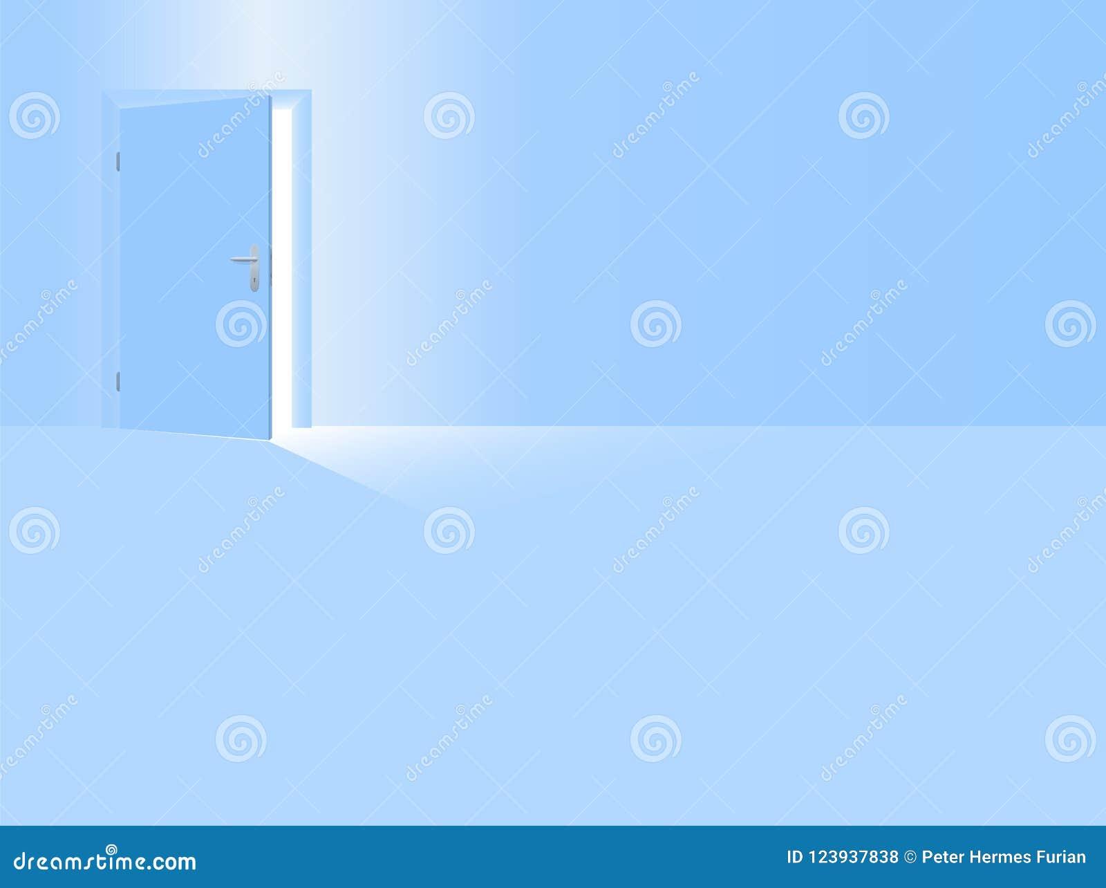 Boys Nursery Baby Blue Room Open Door Stock Vector Illustration Of Floor Door 123937838