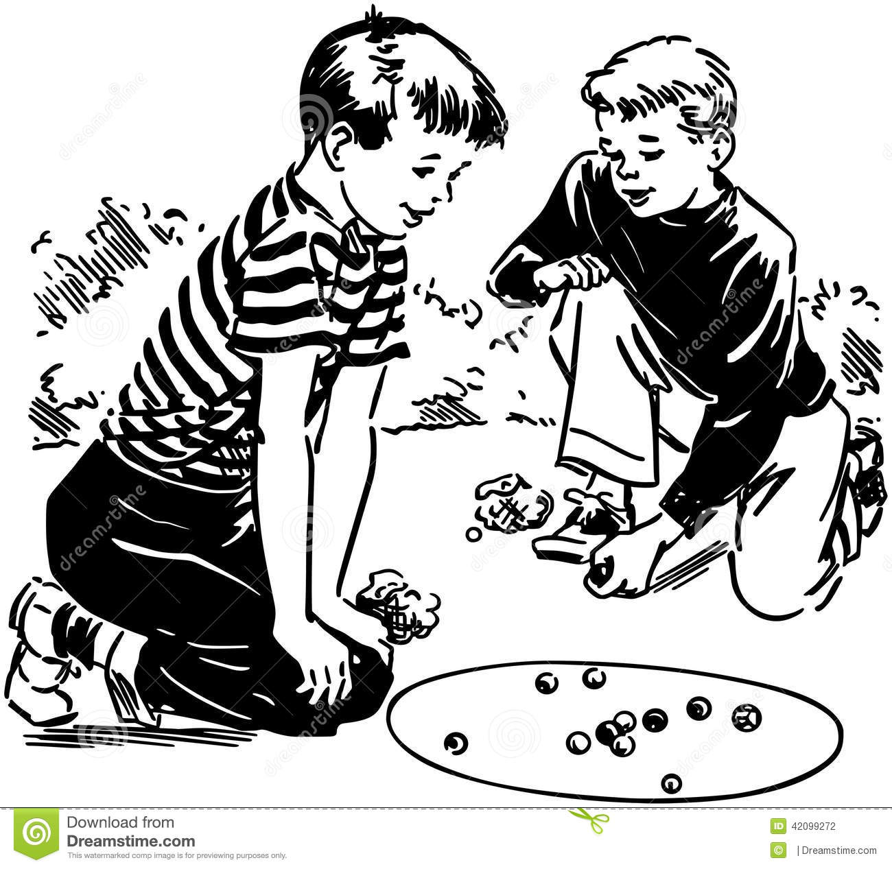 Boys Playing Marbles Stock Vector Image 42099272