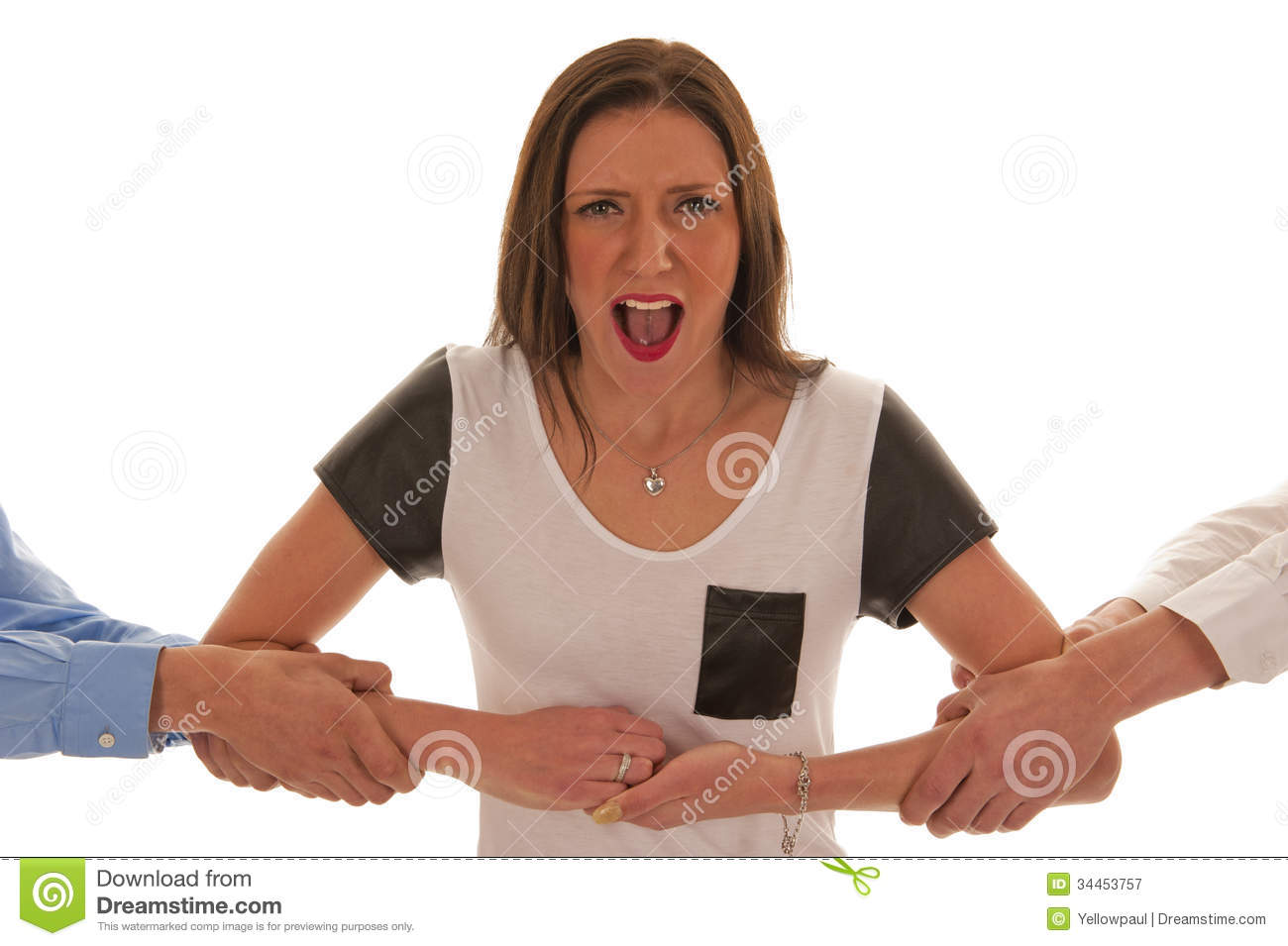 boys pulling arms girl resist stock image