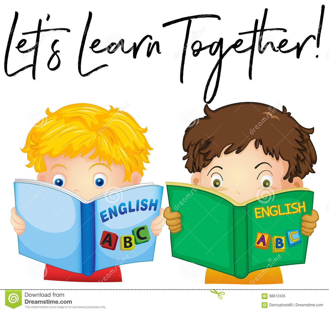 Boys Reading Book With Phrase Let`s Learn Together Stock Vector ...