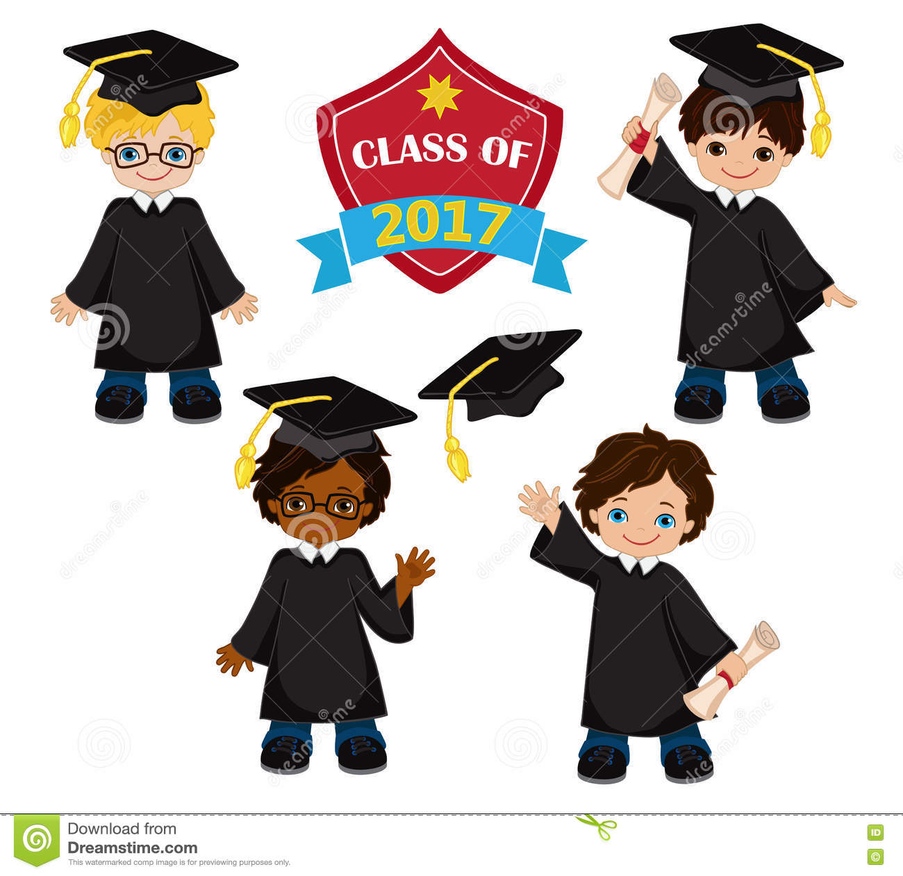 Boys. Set Of Children In A Graduation Gown And Mortarboard. Stock ...