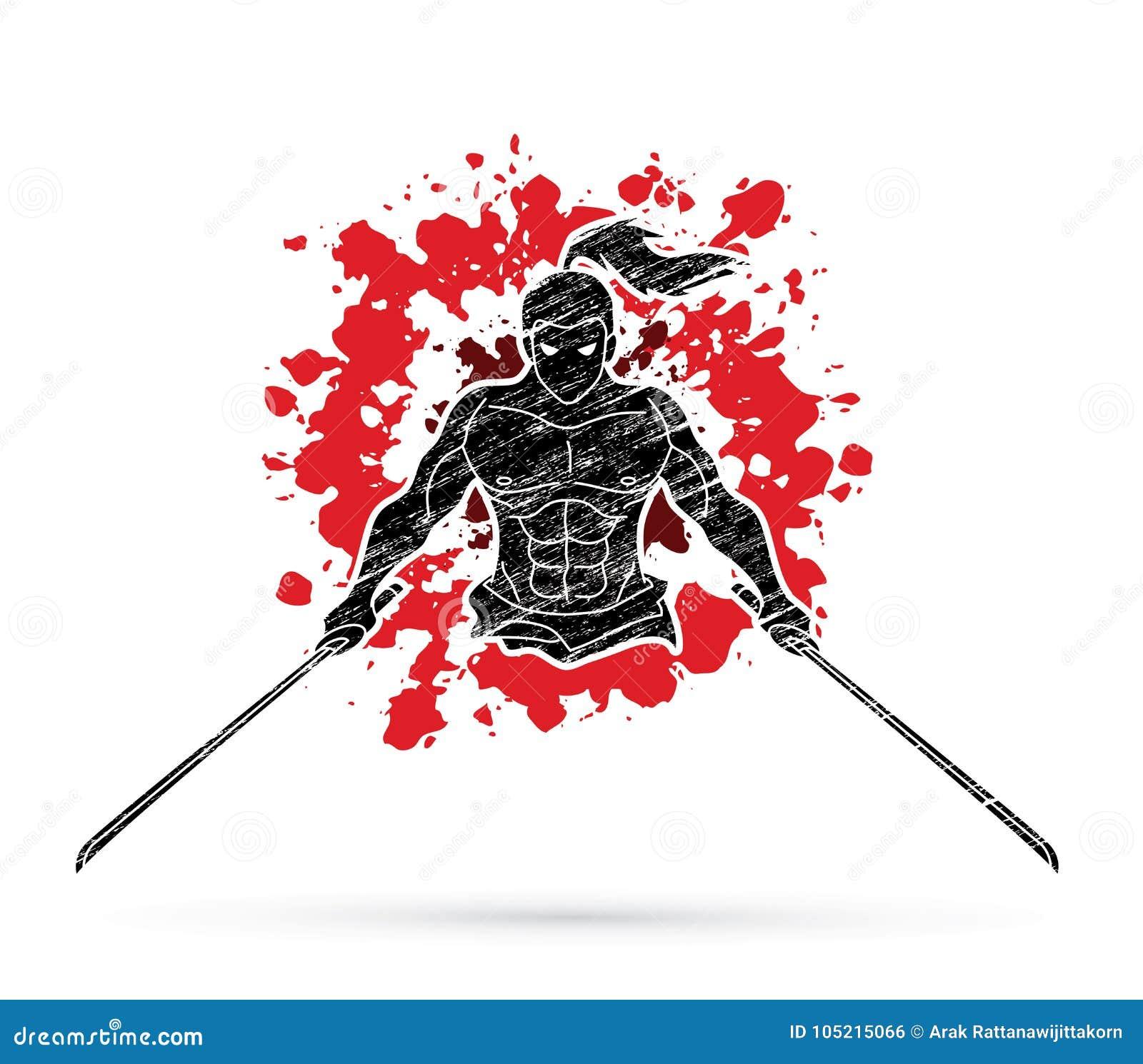 Boze Samoeraien die zich met het teken grafische vector van het zwaarden vooraanzicht bevinden