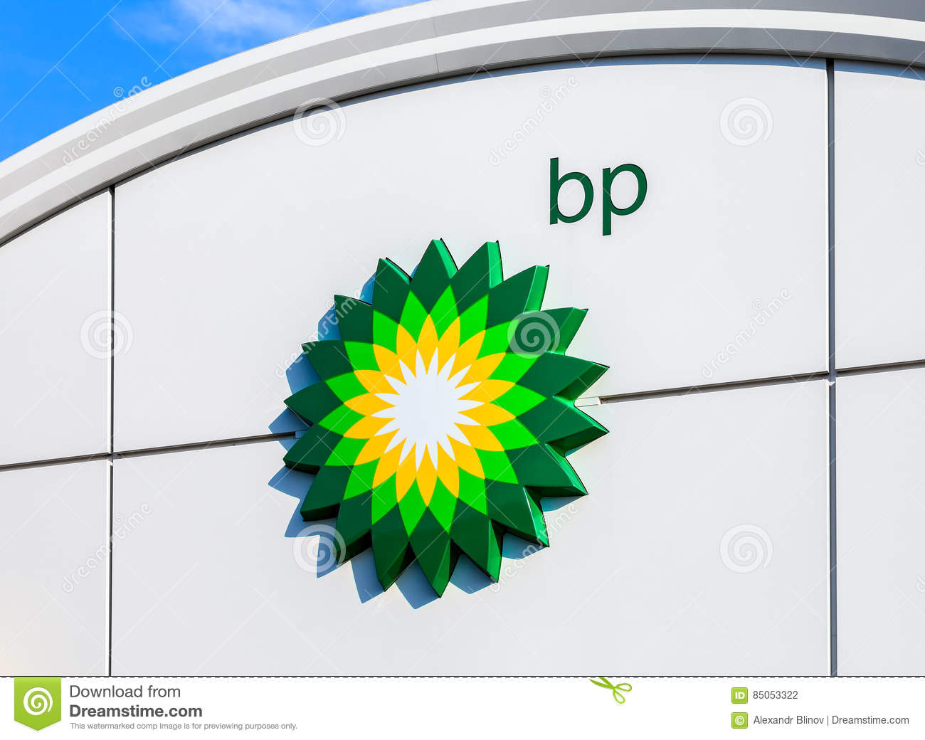 bp british petroleum petrol station logo over blue sky editorial bp british petroleum petrol station logo over blue sky editorial photography image 85053322
