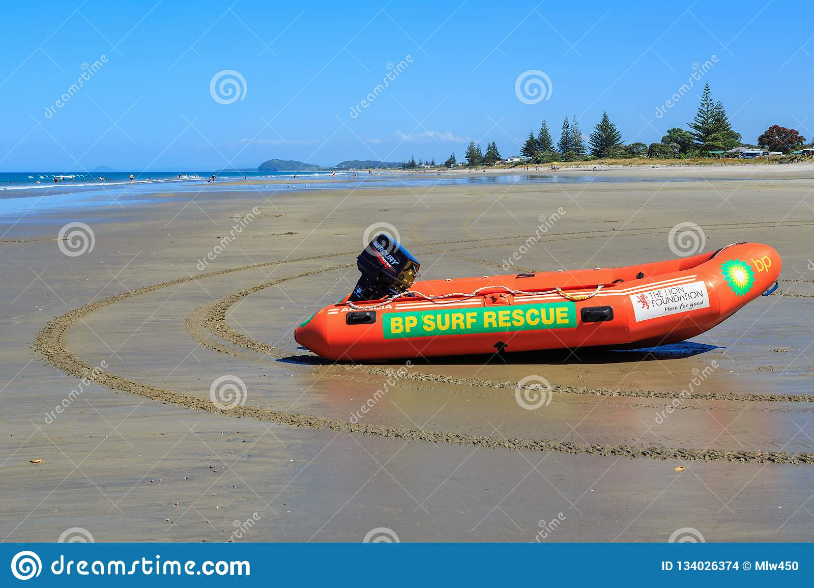 An Inflatable Surf Rescue Boat On A New Zealand Beach