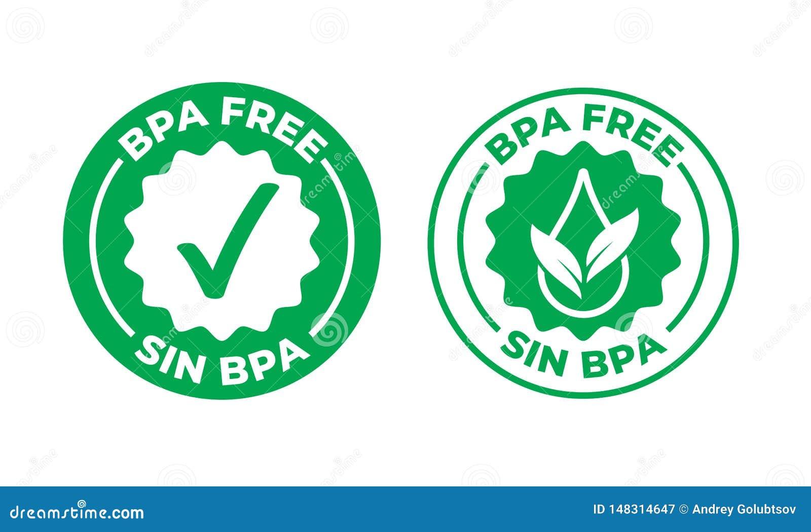 BPA自由传染媒介绿色校验标志证明了象 安全食物包裹邮票,健康罪孽BPA,西班牙封印邮票