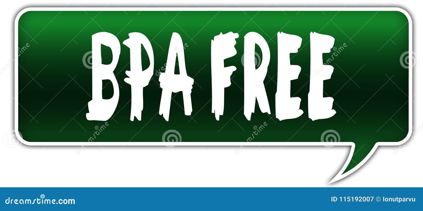 BPA FREE on green dialogue word balloon.