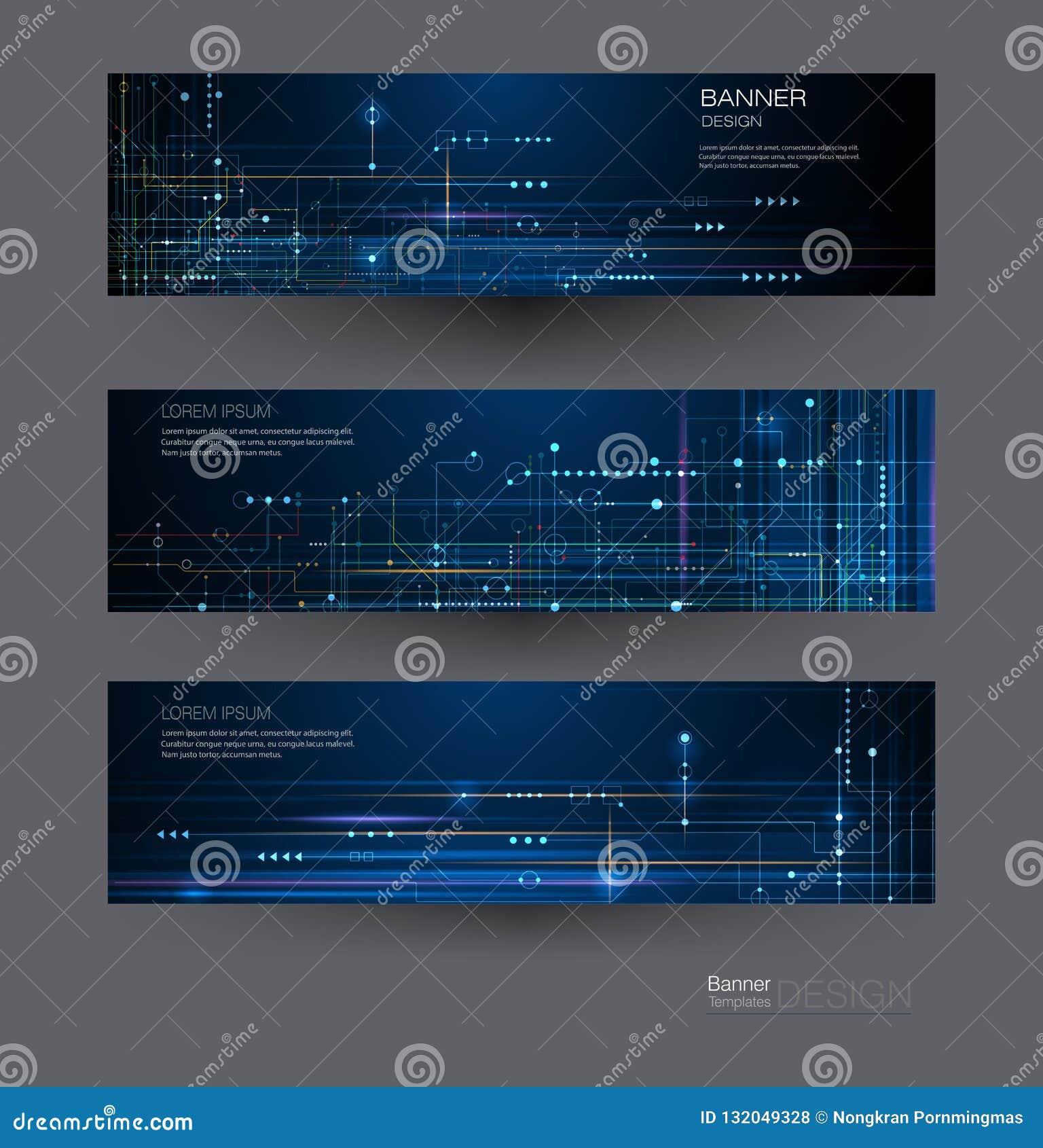 Bräde för strömkrets för fastställd design för vektorbaner Abstrakt modernt futuristiskt för illustration, teknik, teknologibakgr