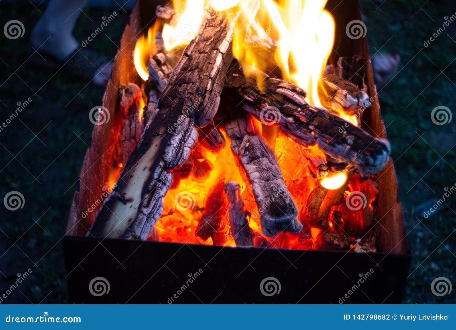 Brännande kol i fireplasen