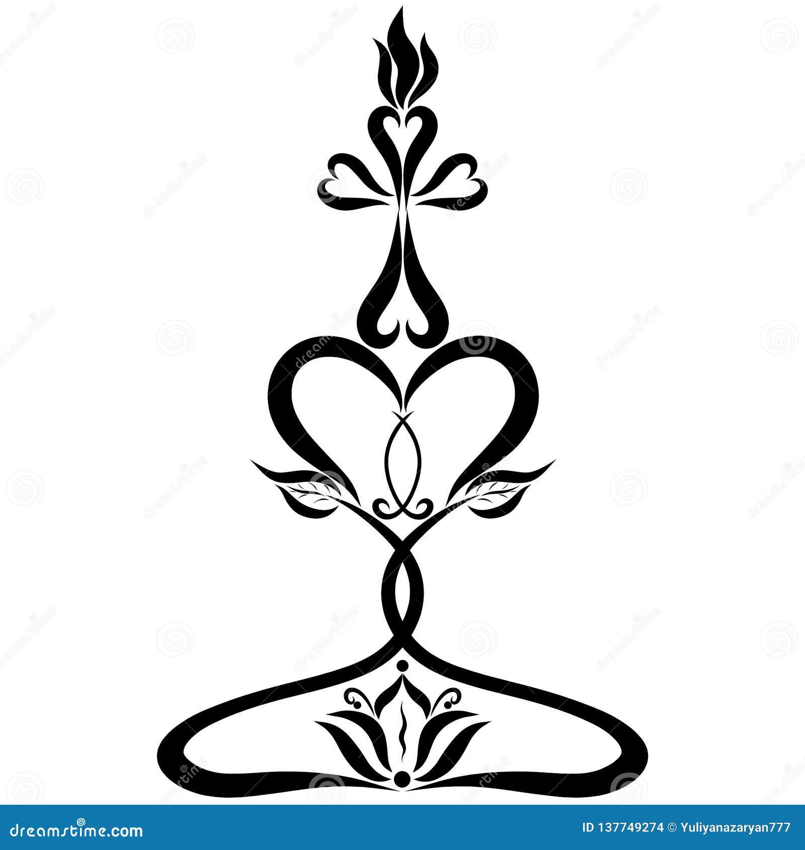 Brännande stearinljus i formen av ett kors på en ljusstake som göras av hjärtor med en blomma och en symbolisk fisk