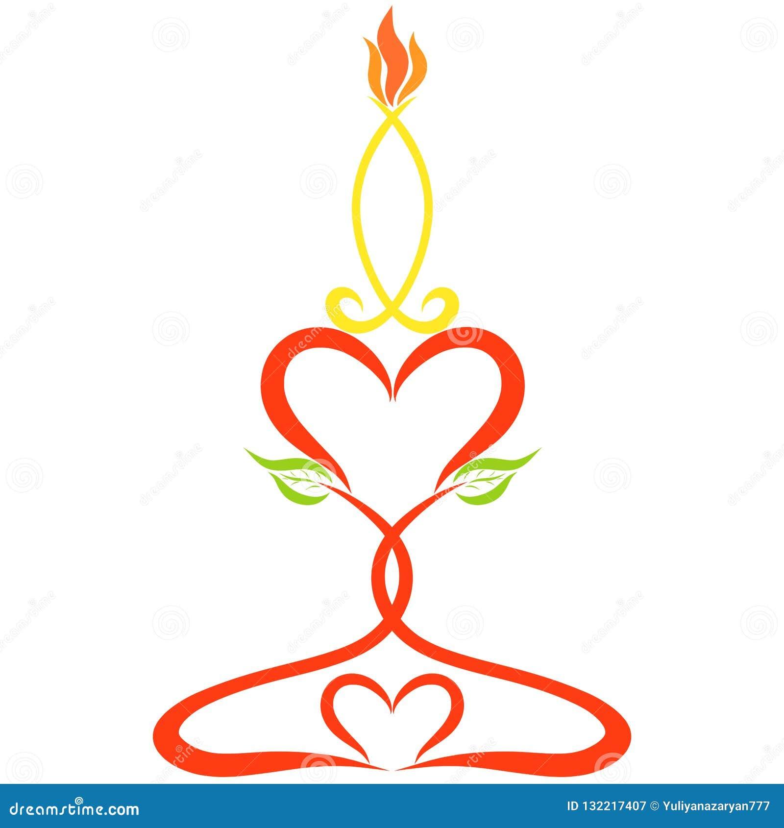Brännande stearinljus på en ljusstake som göras av hjärtor och sidor, färg