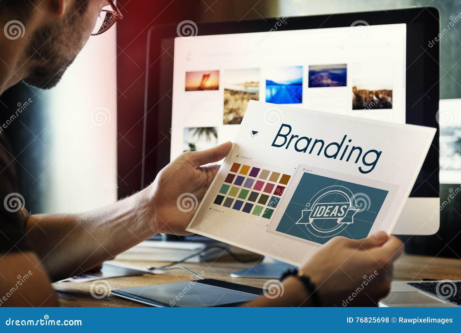 Brännmärka begrepp för marknadsföring för idédesignidentitet