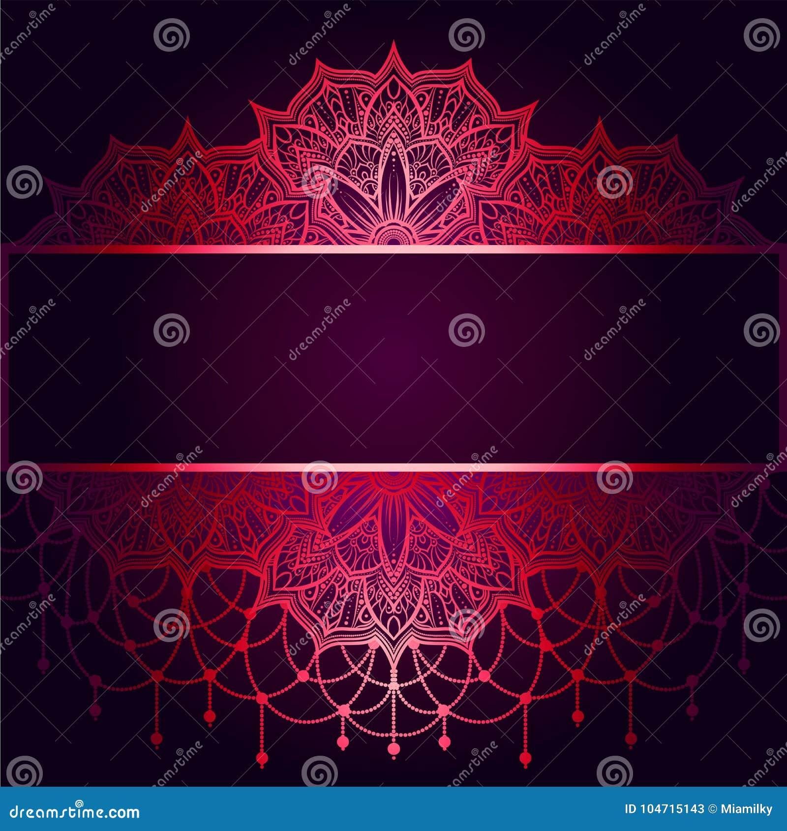 Bröllopinbjudan eller kort, invecklad mandala med pärlor på en mörk purpurfärgad bakgrund Rosa skuggor, islam, arabiska, indier,