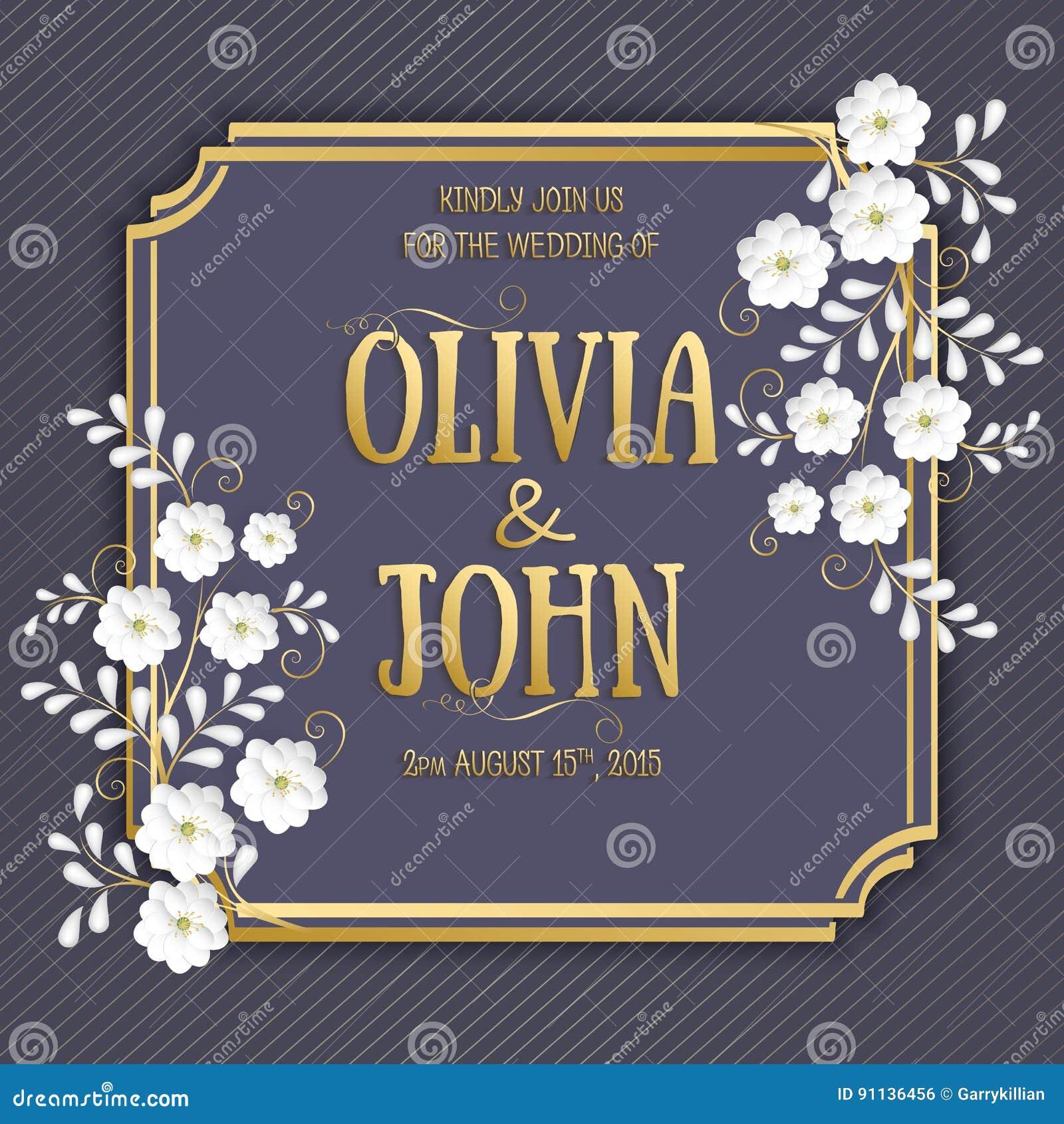 Bröllopinbjudan- och meddelandekort med blom- bakgrundskonstverk Elegant utsmyckad blom- backgroun