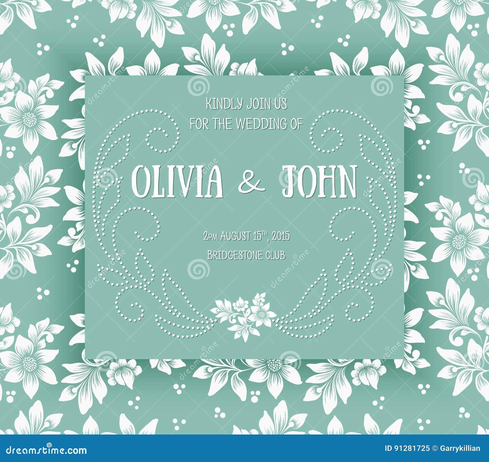Bröllopinbjudan- och meddelandekort med blom- bakgrundskonstverk Elegant utsmyckad blom- bakgrund