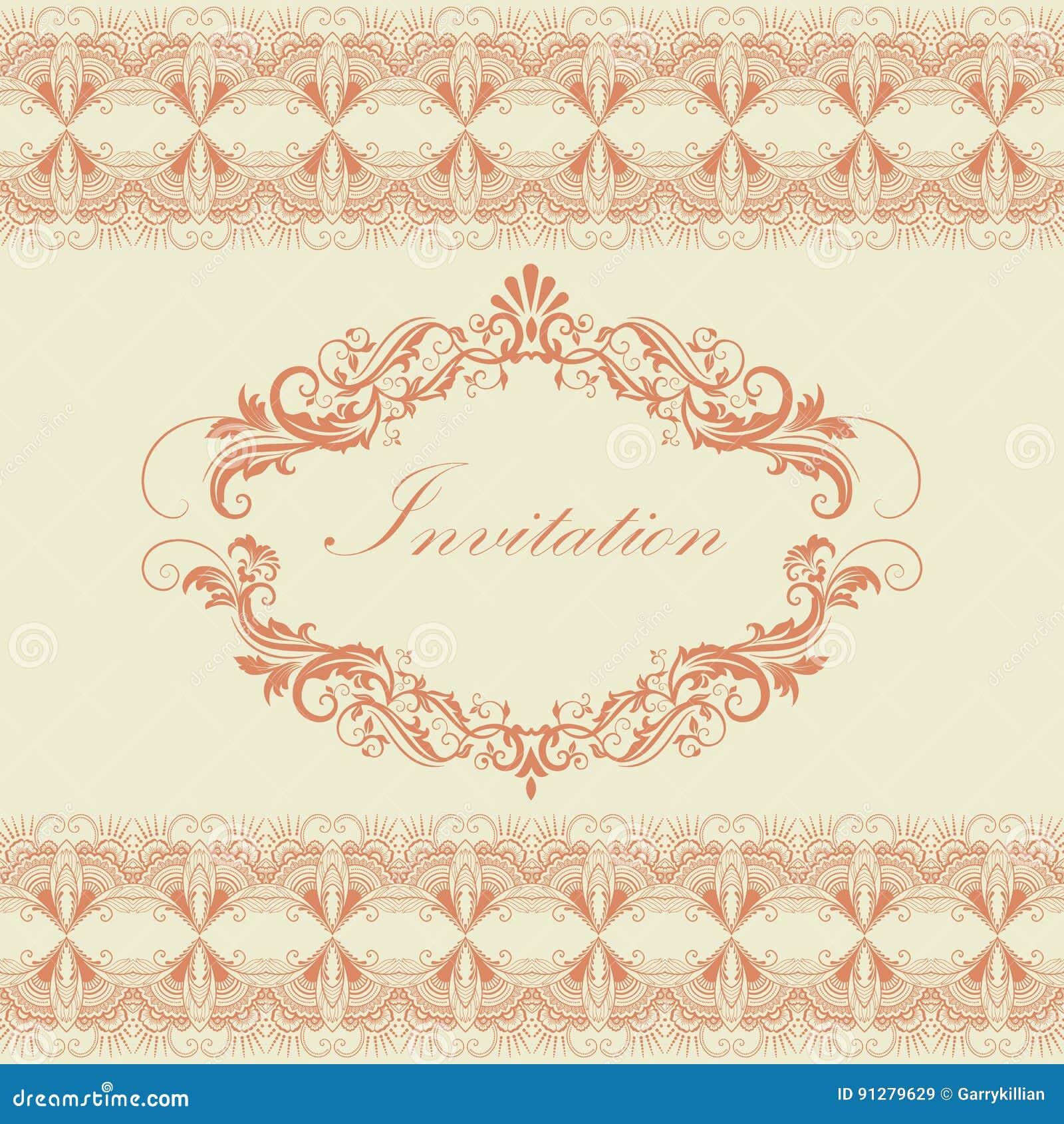 Bröllopinbjudan- och meddelandekort med blom- bakgrundskonstverk Elegant utsmyckad blom- bakgrund blom-