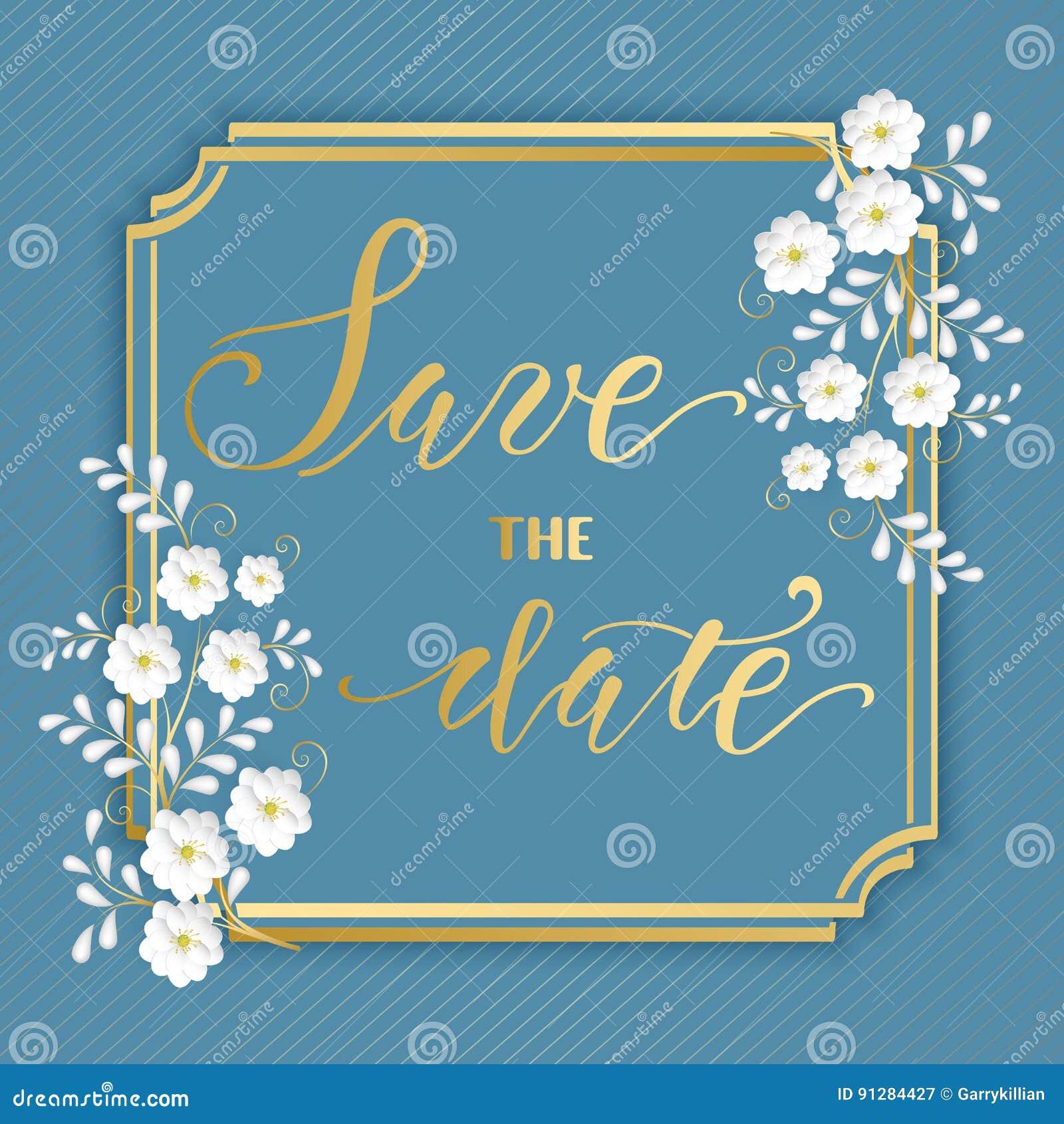 Bröllopinbjudan- och meddelandekort med den blom- ramen Elegant utsmyckad gräns med handskriven text datumet sparar
