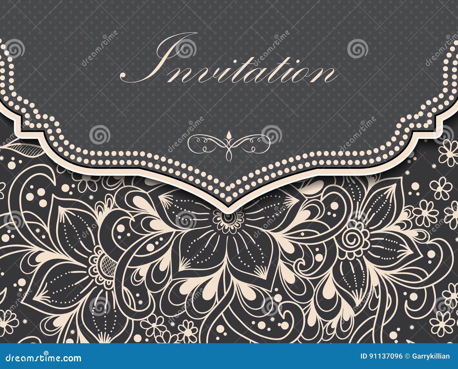 Bröllopinbjudan- och meddelandekort med prydnaden i arabisk stil Arabesquemodell E