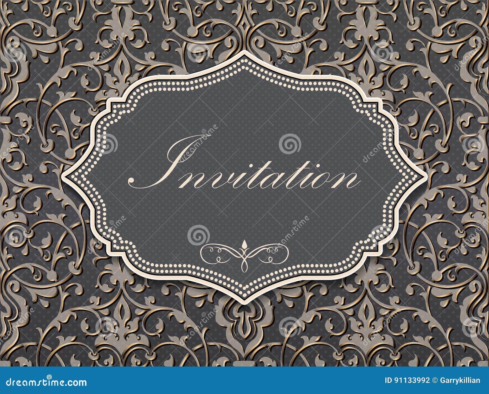 Bröllopinbjudan- och meddelandekort med tappningbakgrundskonstverk Elegant utsmyckad damast bakgrund