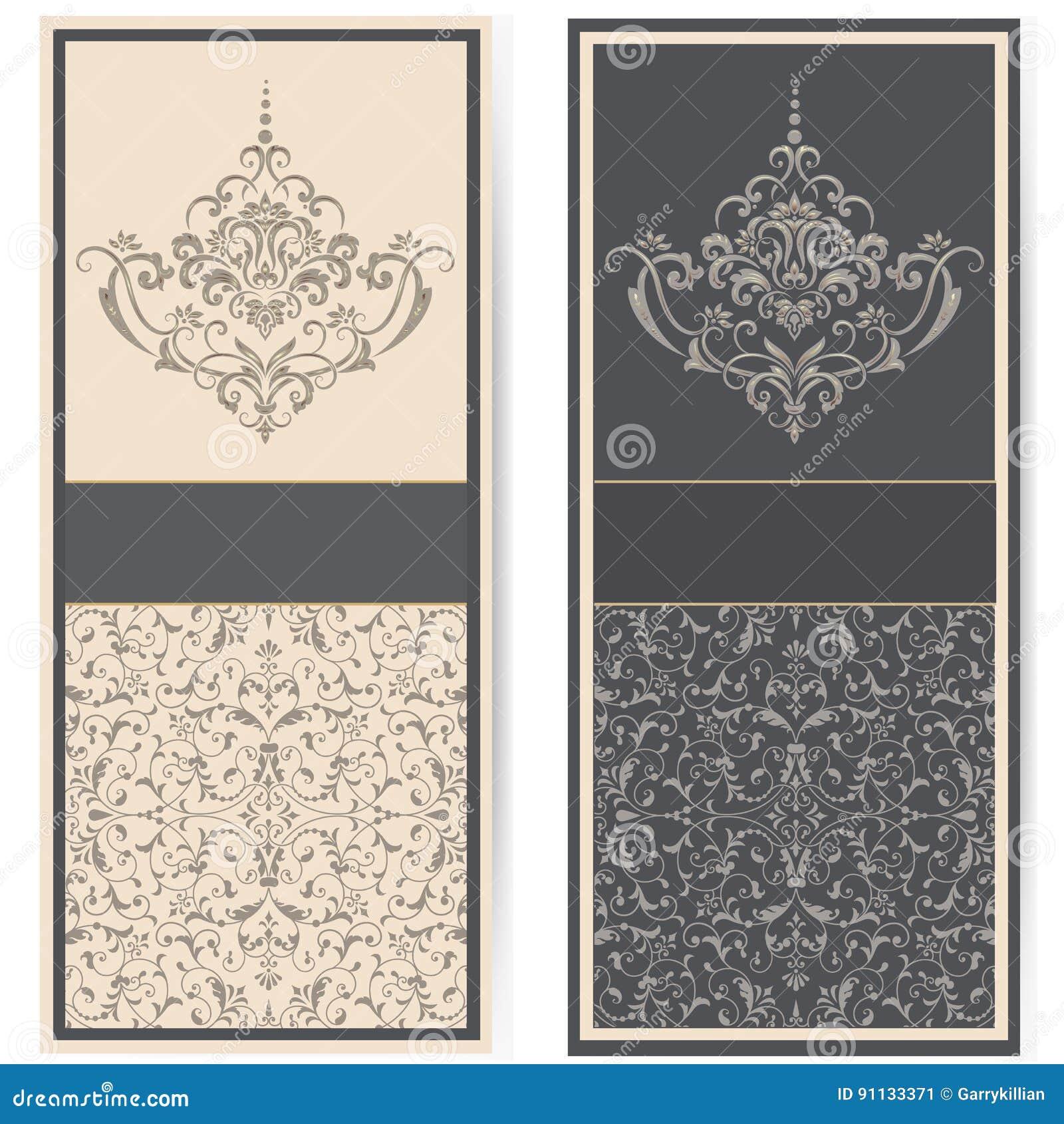 Bröllopinbjudan- och meddelandekort med tappningbakgrundskonstverk Elegant utsmyckad damast bakgrund E