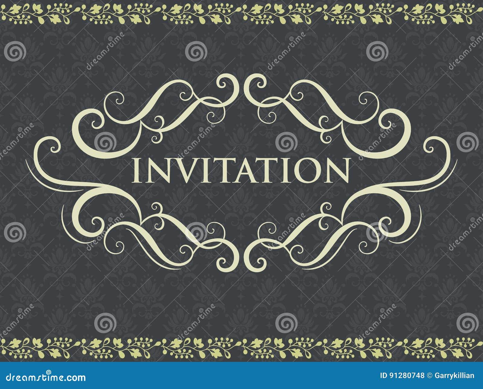 Bröllopinbjudan- och meddelandekort med tappningbakgrundskonstverk Elegant utsmyckad damast bakgrund elegantt
