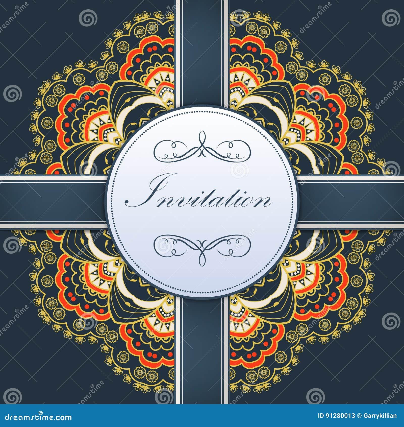 Bröllopinbjudan- och meddelandekortet med den dekorativa rundan snör åt med arabesquebeståndsdelar Mehndi stil orient