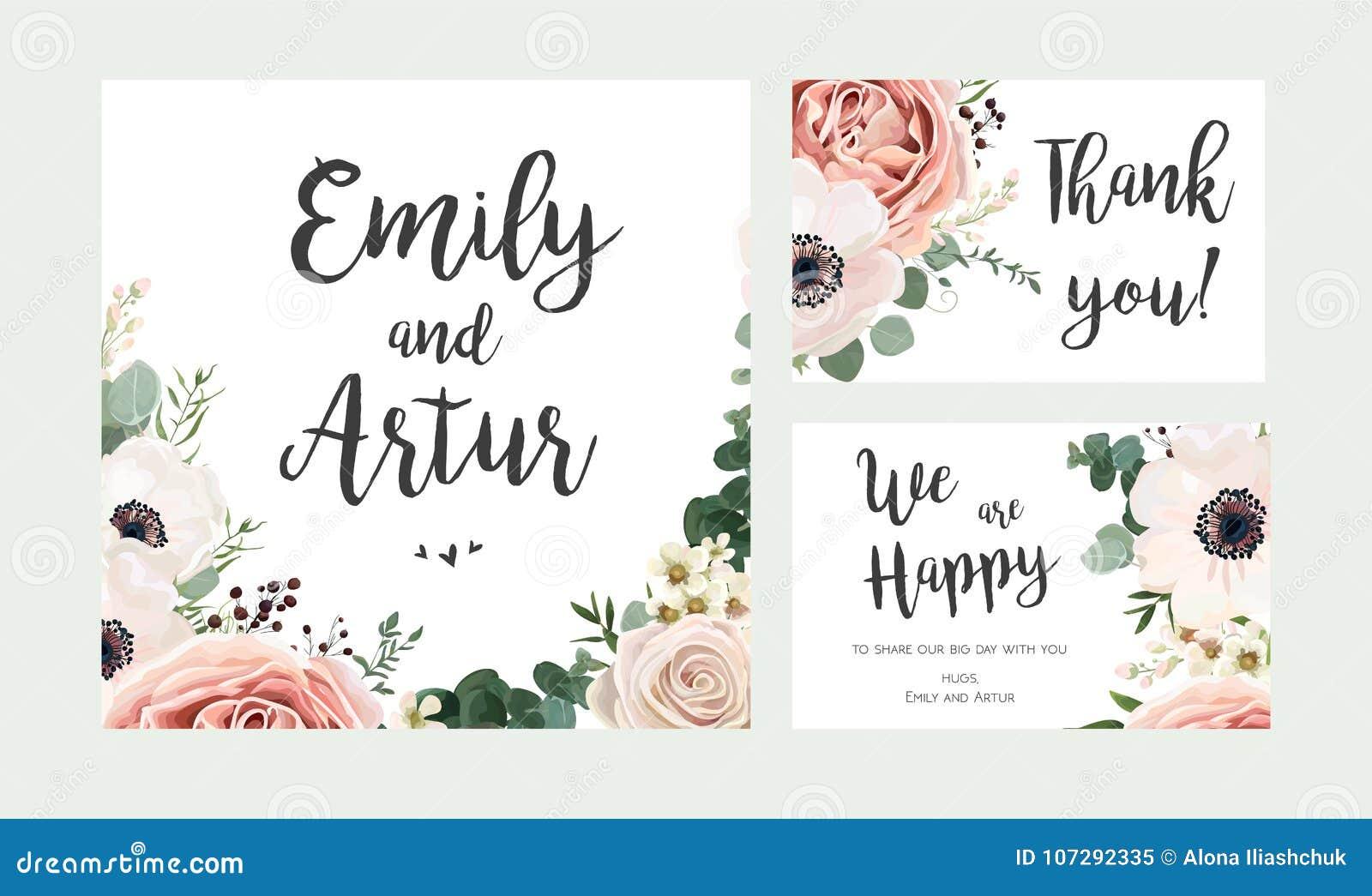 Bröllopinbjudan som är blom- inviterar kortvektordesign: trädgårds- lav