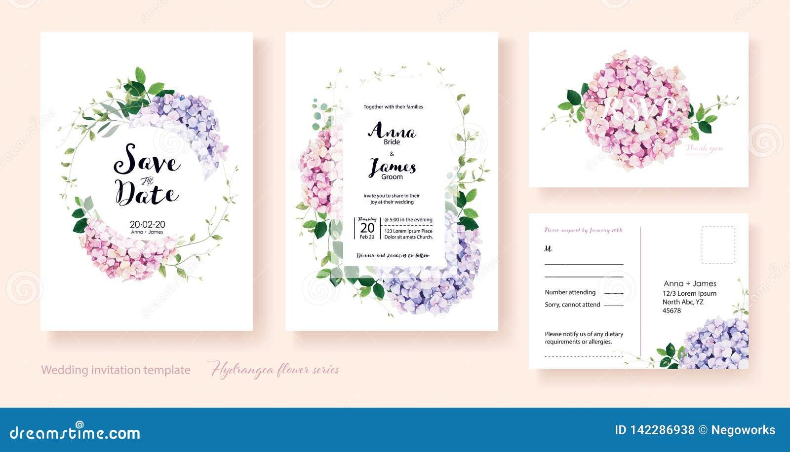 Bröllopinbjudan, sparar datumet, tacka dig, mall för rsvpkortdesign vektor vanlig hortensiablommor, murgrönaväxter