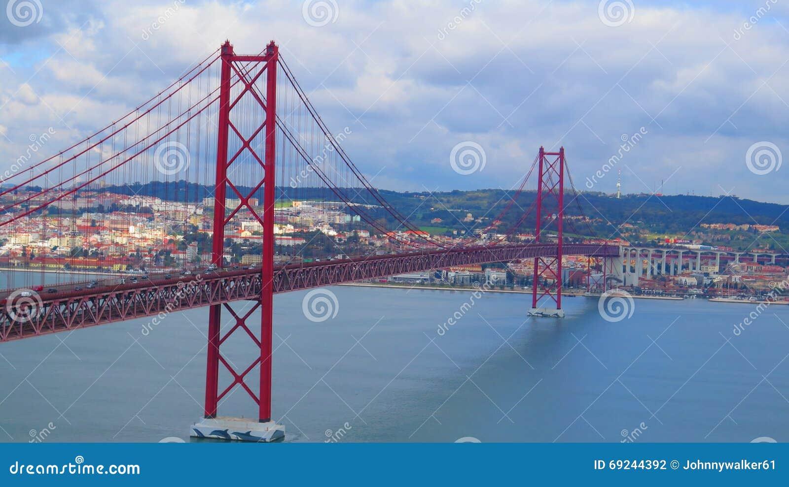 Lissabon Fluss brücke über fluss der tajo lissabon stockfoto bild lissabon