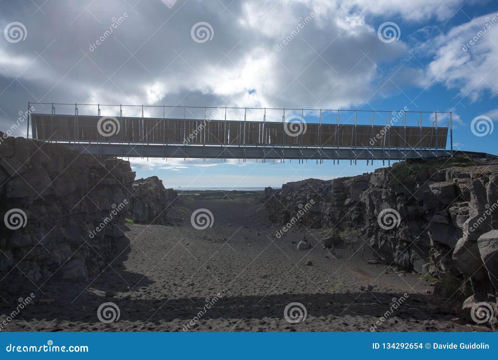 Brücke zwischen Ansicht von unten der Kontinente, Hafnir, Island