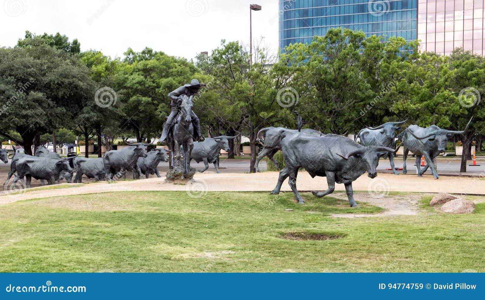 Brąz Steruje i Kowbojski rzeźba pioniera plac, Dallas