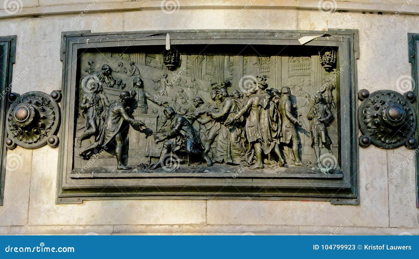 Brązowa bas ulga, szczegół zabytek republika, Paryski Francja