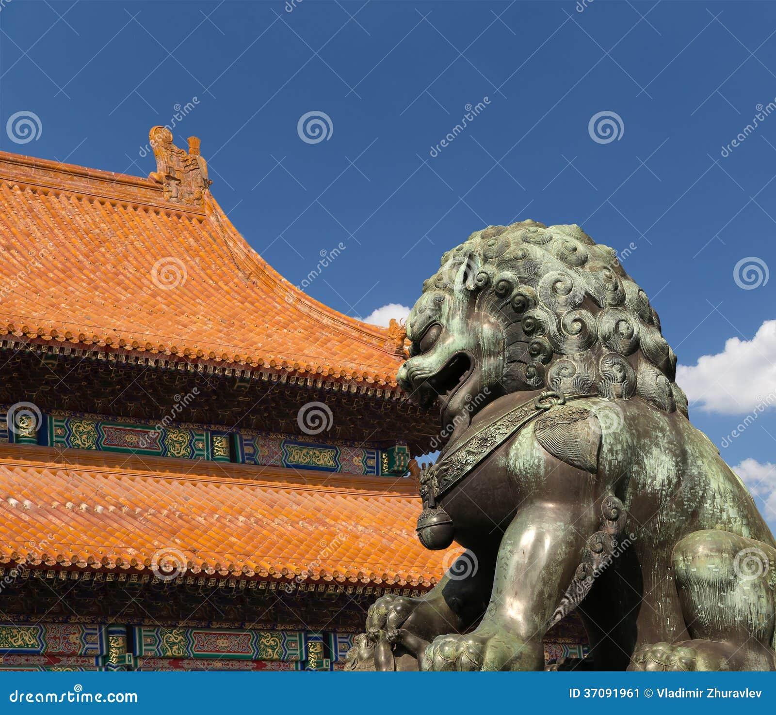Download Brązowa Opiekunu Lwa Statua W Niedozwolonym Mieście, Pekin, Chiny Obraz Stock - Obraz złożonej z nadziemski, imperializm: 37091961