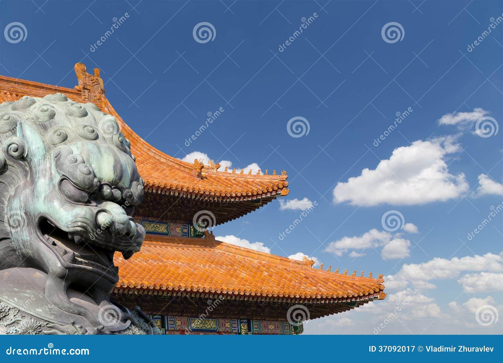 Download Brązowa Opiekunu Lwa Statua W Niedozwolonym Mieście, Pekin, Chiny Obraz Stock - Obraz złożonej z pałac, chińczyk: 37092017