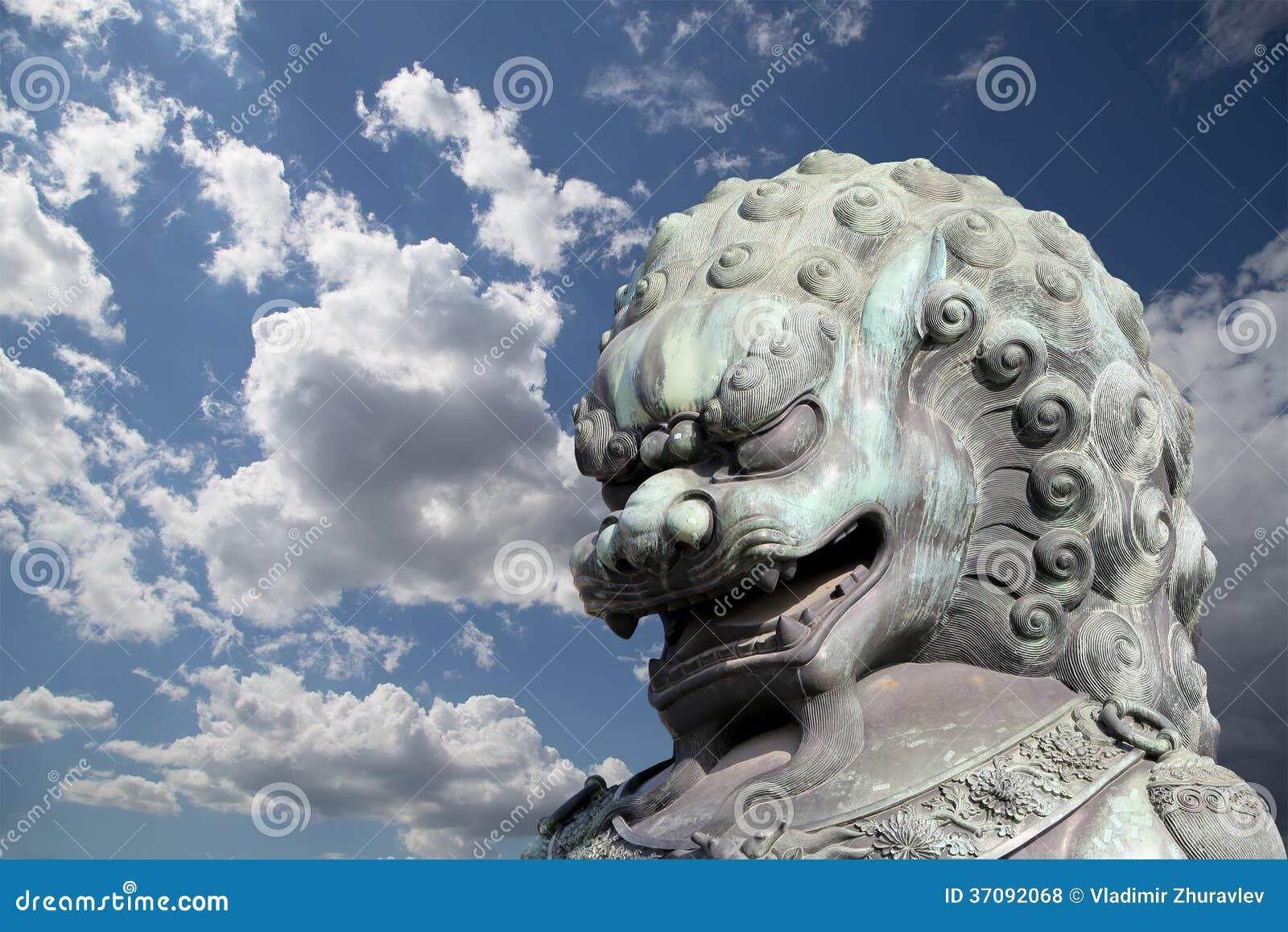 Download Brązowa Opiekunu Lwa Statua W Niedozwolonym Mieście, Pekin, Chiny Zdjęcie Stock - Obraz złożonej z zabytki, nadziemski: 37092068