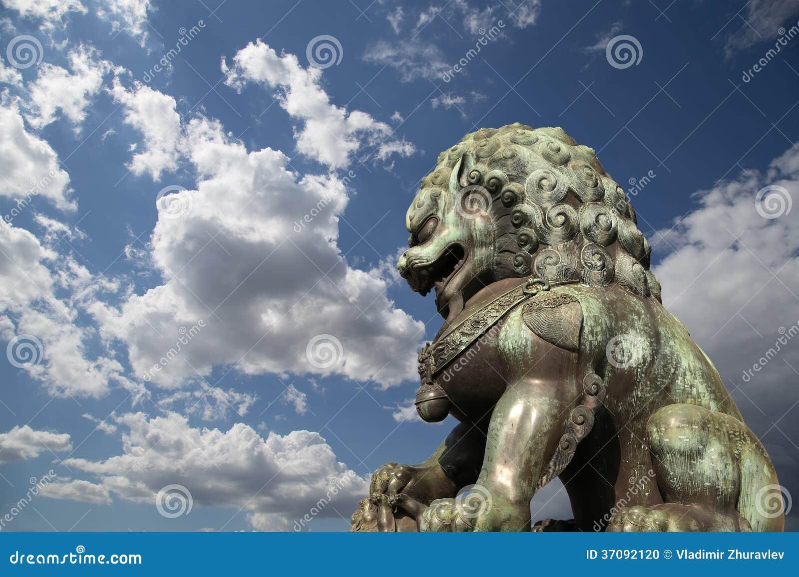 Download Brązowa Opiekunu Lwa Statua W Niedozwolonym Mieście, Pekin, Chiny Zdjęcie Stock - Obraz złożonej z strzeżenie, zakazujący: 37092120