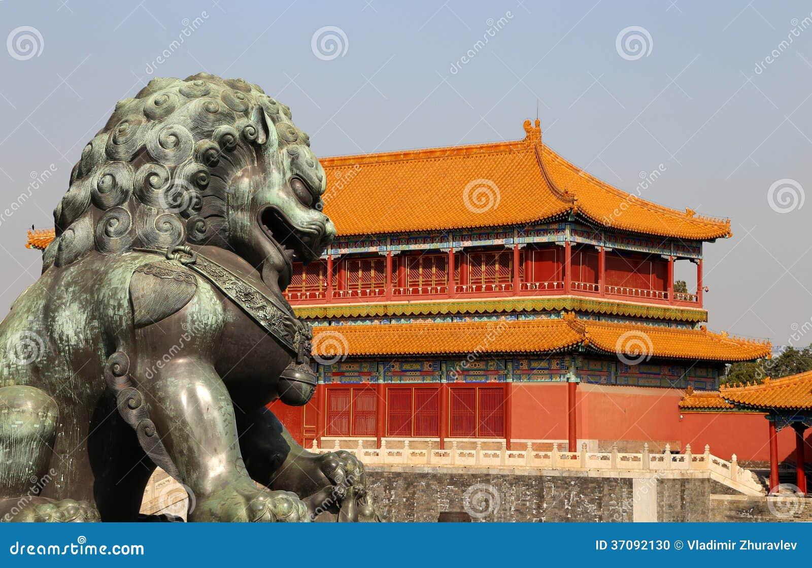 Download Brązowa Opiekunu Lwa Statua W Niedozwolonym Mieście, Pekin, Chiny Zdjęcie Stock - Obraz złożonej z historia, przeznacza: 37092130