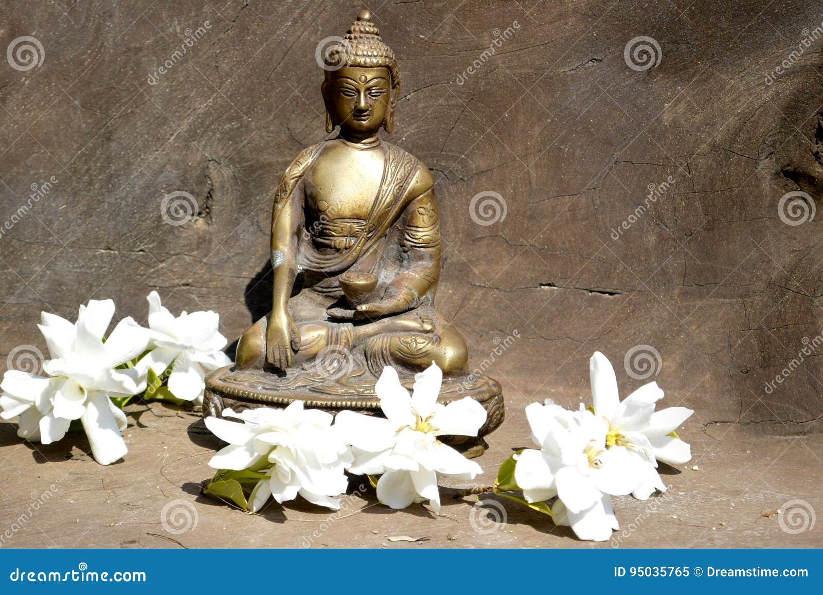 Brązowa statua macanie ziemia Buddha na drewnie z białymi kwiatami