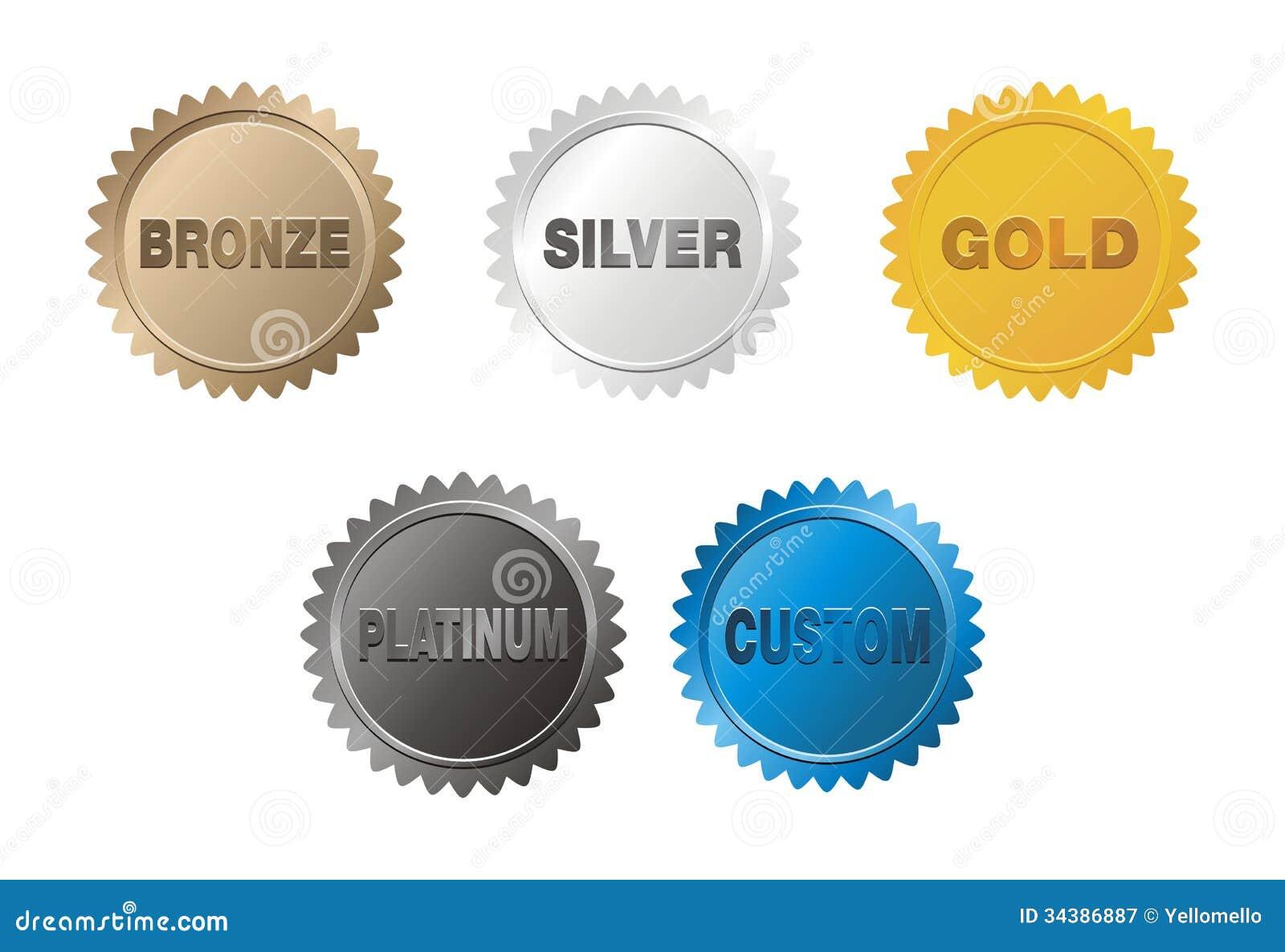 Brązowieje, osrebrza, złoto, platyny odznaka