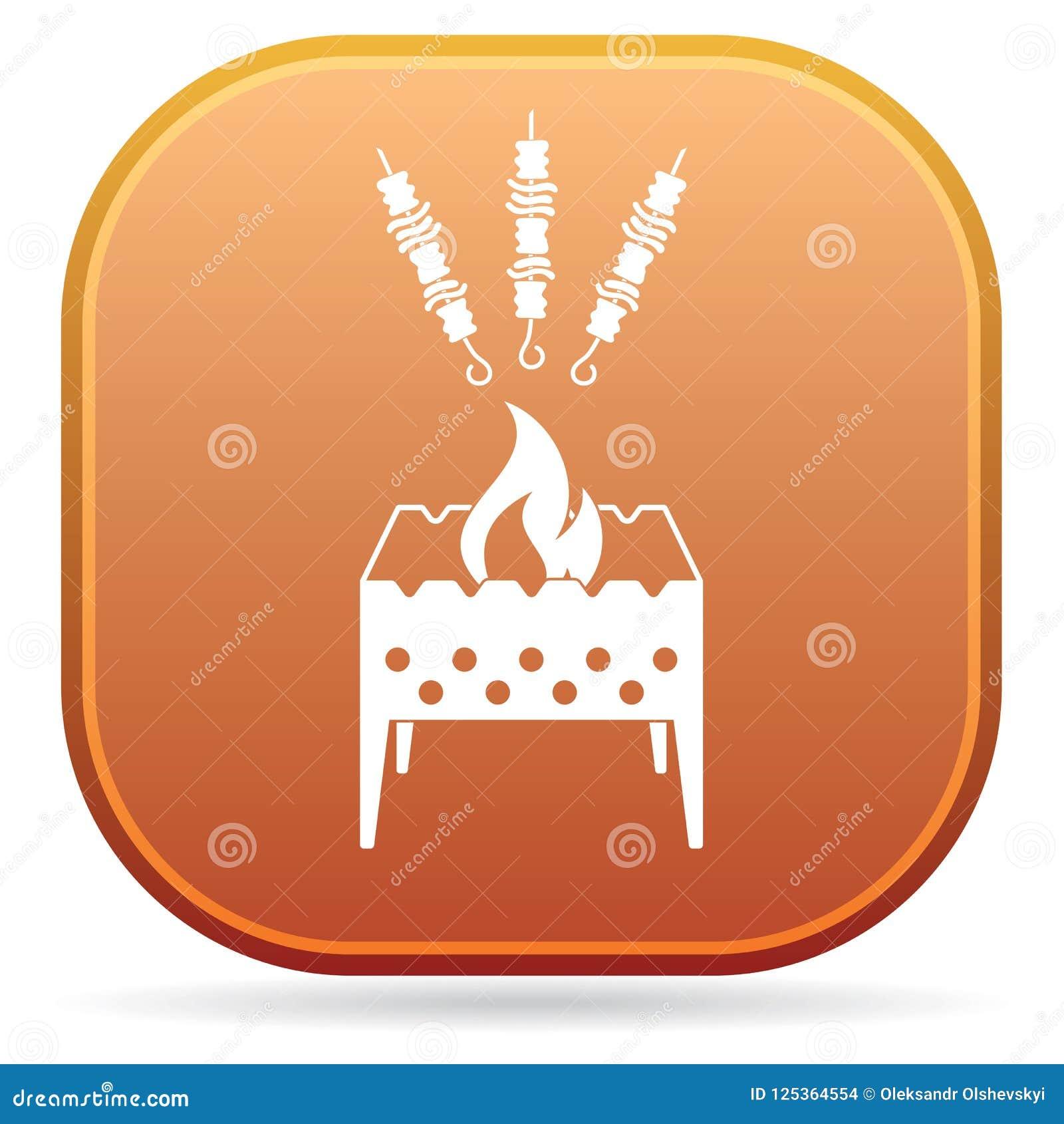 Brązownika grill z kebab ikoną