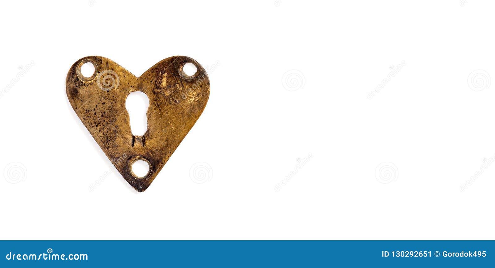 Brązowy serce z keyhole na białym tle Miłość symbolu walentynek dnia projekta element kosmos kopii