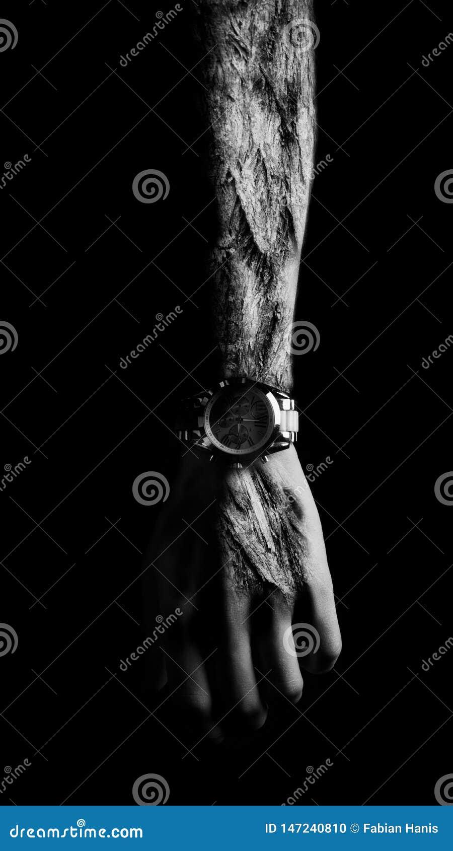 Braço do horror com pele e o relógio de madeira - imagem surreal