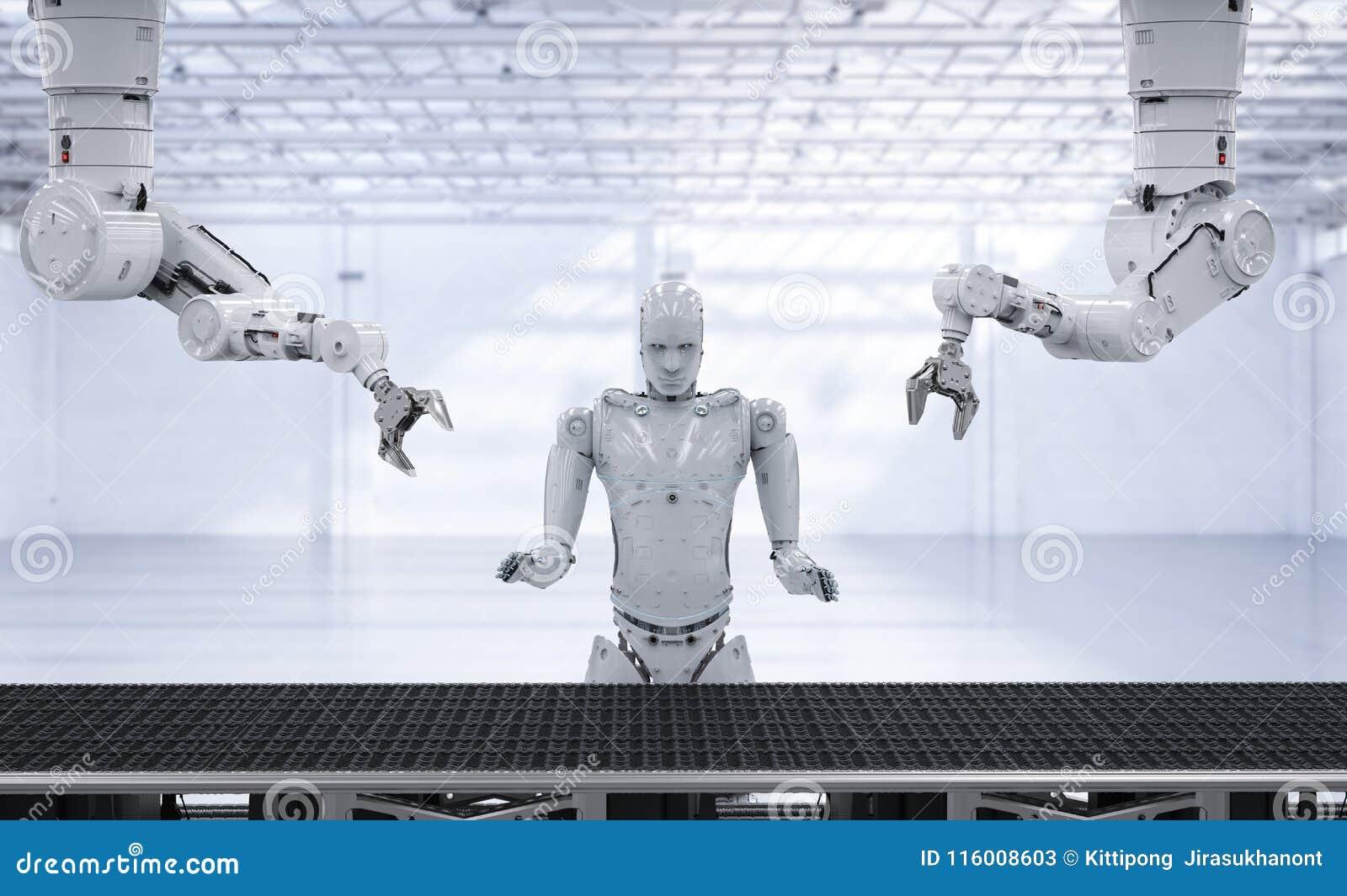 Braço do robô com linha do transporte
