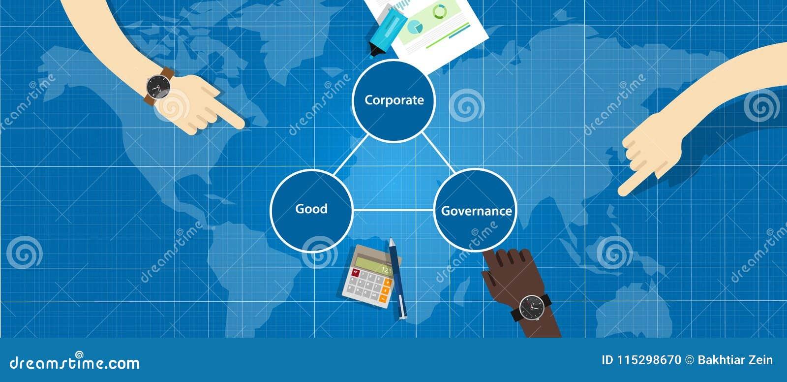 Bra bolagsstyrningbegrepp genomskinligt ledningsymbol för ansvarig organisation med händer