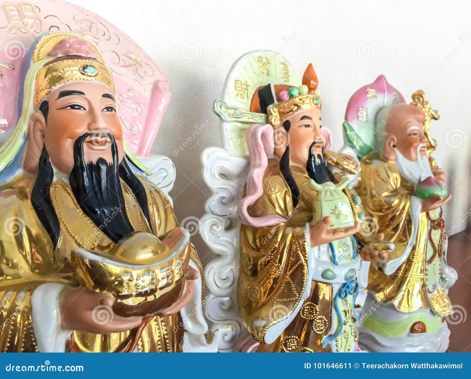 Bra förmögenhet för tre kinesiska lyckliga gudar Fu, Hok, välstånd Lu, Lok och livslängd Shou, Siu