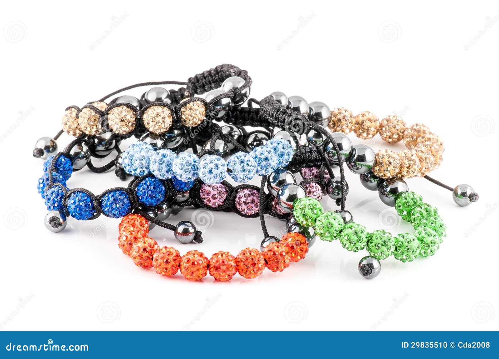 Braceletes coloridos de Shamballa