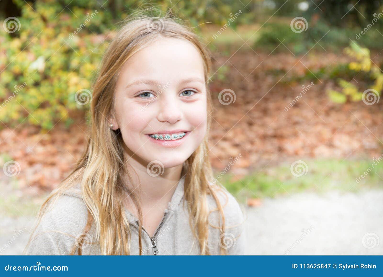 Braces Teeth Teenager Girl Outdoor Smiling Beauty Cute Teen