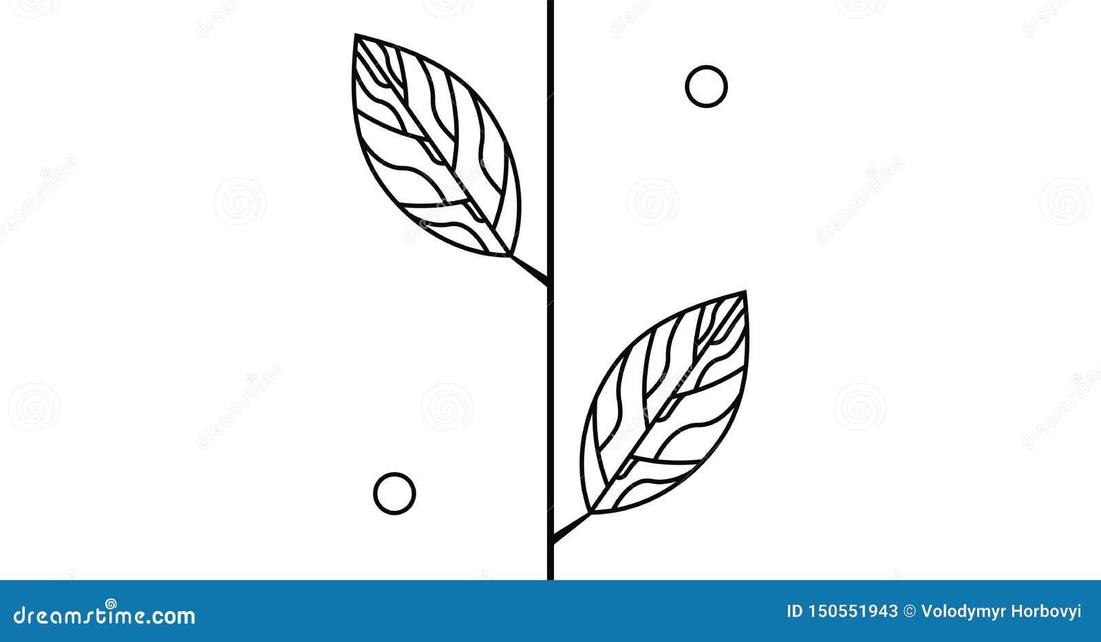 Brach med blad och den abstrakta logotypen för cirkel