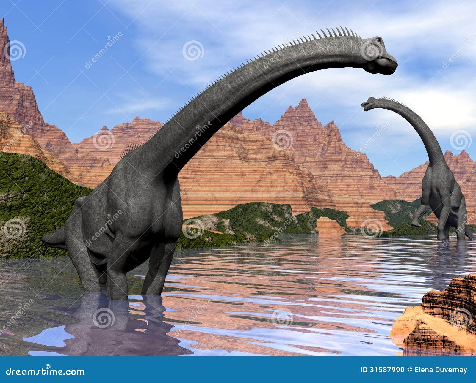 Brachiosaurus Dinosaurs In Water 3d Render Stock Photo