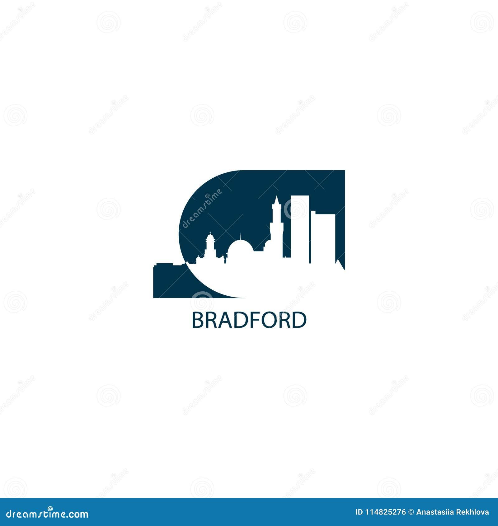Bradford City Skyline Silhouette Vector Logo Illustration ...