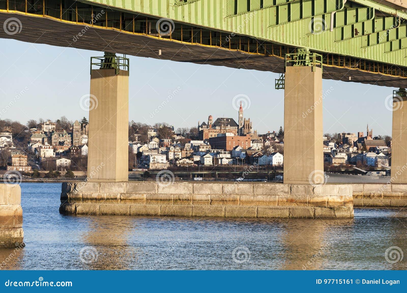 Braga Bridge Framing Fall River Skyline Stock Image - Image of urban ...